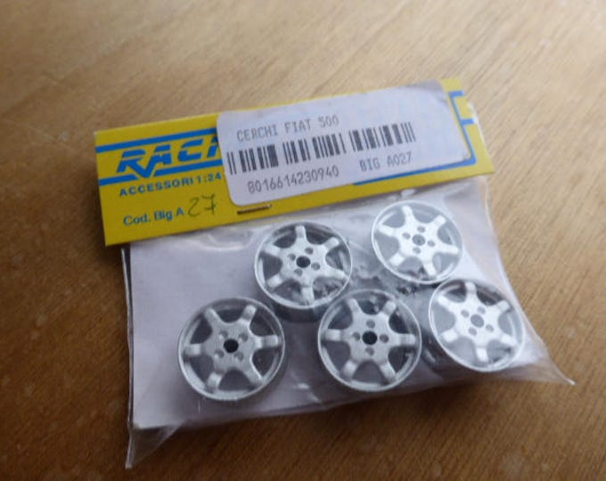 Pack of 5 white metal 6-spoke wheels for Fiat Cinquecento Sporting Trofeo Rally and so on 1:24 RACING43 Big-A027