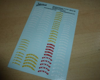 white / red / yellow decals for tires for tuning and GT cars (Japanese, European and US logos) rare scripts 1:18 scale Interdecal PN 4/18