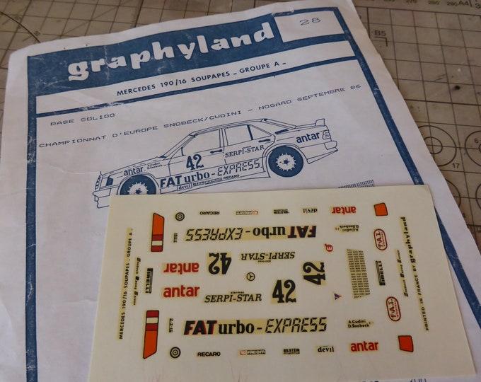 Graphyland 1:43 decals for Mercedes 190E 16v Gr.A FATurbo-Express ETCC 1986 Nogaro #42 Cudini/Snobeck