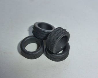Set of 4 tires, threaded - Model car accessories - Scale model tires - 1:43 mm 5.7x12.9x9.2 #4329PR