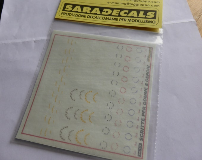 high quality 1:43 decals for racing tires and rims rare logos Saradecals printing #116