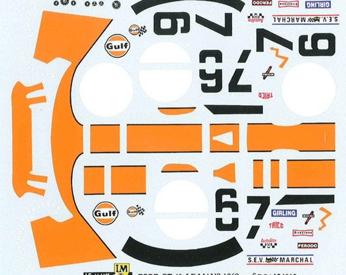 high quality 1:24 decals sheet Ford GT40 Gulf Le Mans 1969 #6/7 Le Mans Miniatures DCA124012