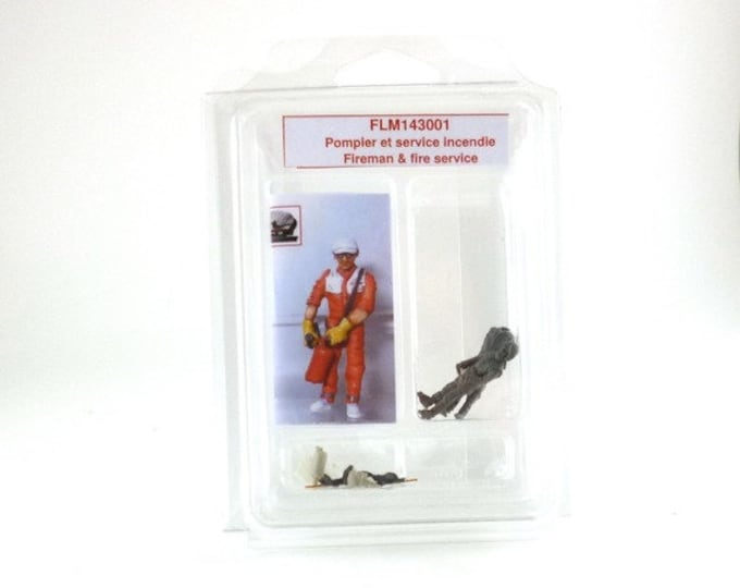 set of one fireman and technical assistant 1:43 scale (to assemble and paint) Le Mans Miniatures FLM143001