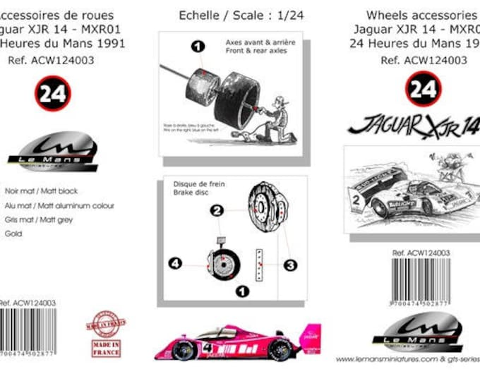 1:24 wheels, disc brakes and tires for Jaguar XJR14 Gr.C and other Group C cars Le Mans Miniatures ACW124003