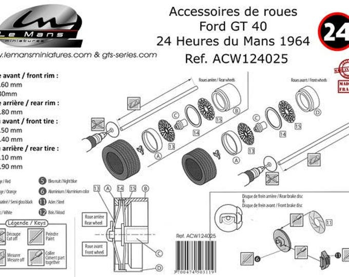 1:24 photo etched and turned wire wheels for Ford GT40 1964 and other Sports and GT cars Le Mans Miniatures ACW124025