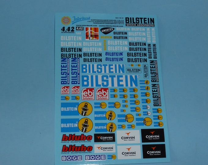 1:18 decals for springs and shock absorbers logos and scripts Tin Wizard SA1-18-12