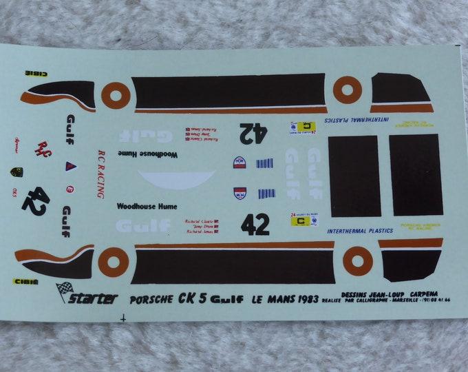 1:43 decals for Porsche CK5 Gr.C Gulf Le Mans 1983 #42 Cleare/Dron/Jones Starter