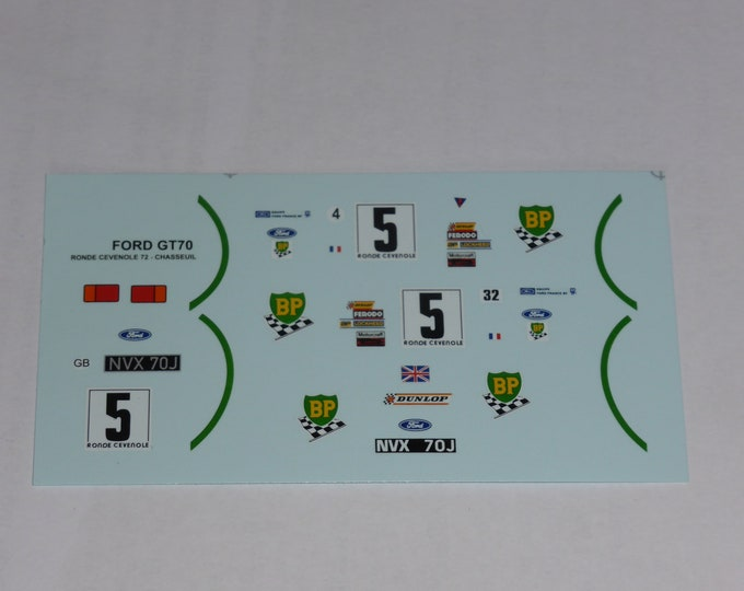 1:43 decals for Ford GT70 Prototype BP Ronde Cévenole 1972 #5 Chasseuil Provence Miniatures