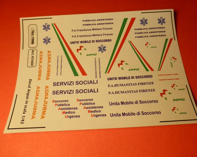 1:43 decals for ANPAS Pubbliche Assistenze (Italy) cars, trucks and other vehicles Max Model #45400