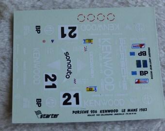 1:43 decals for Porsche 956 Gr.C Kenwood Le Mans 1982 #21 Andretti/Andretti/Alliot Starter