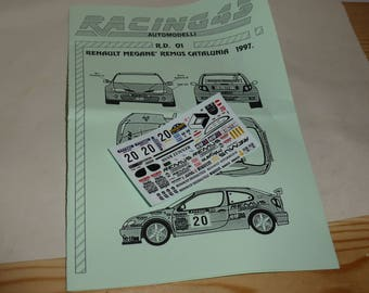 high quality 1:43 decals sheet for Renault Mégane Remus Rally Catalunia 1997 #20 Carlsson/Sperrer RACING43 RD01