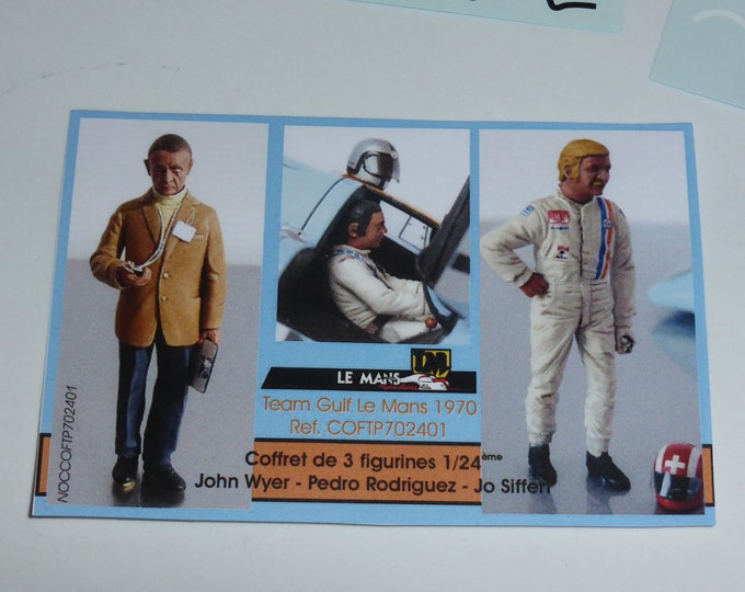resin figurines set with John Wyer, Pedro Rodriguez and Jo Siffert 1:24 scale (to assemble and paint) Le Mans Miniatures COFTP702401K