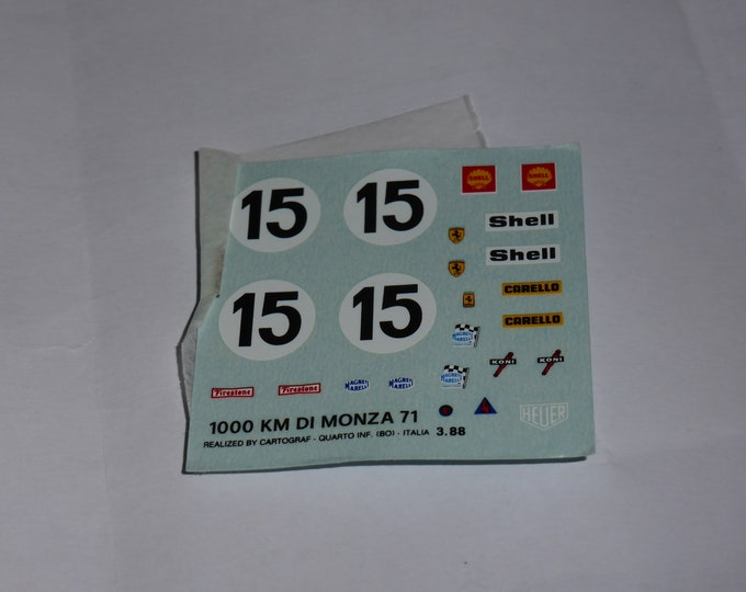 1:43 decals sheet for Ferrari 312 PB 1000km Monza 1971 #15 Tameo TMK146