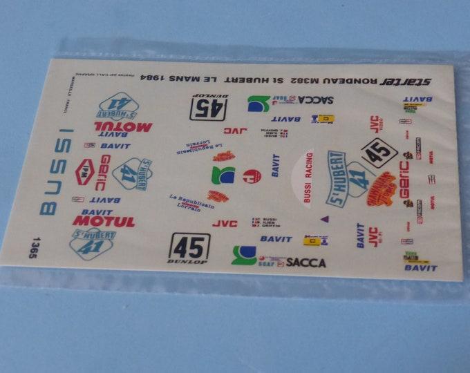 1:43 decals for Rondeau M382 Gr.C StHubert41 Le Mans 1984 #45 Bussi/Ilien/Griffin