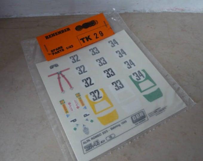 high quality 1:43 decals Alfa Romeo 33-3 12h Sebring 1969 #32-33-34 Remember TK29