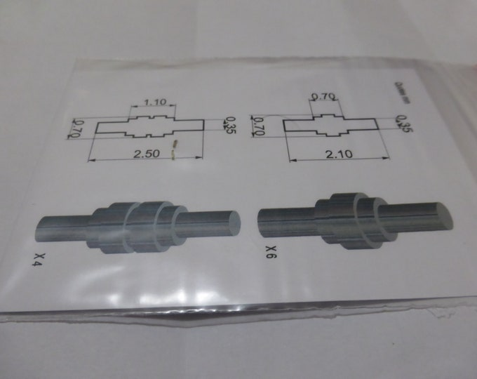 machined 1:43 electric cable connectors 2 shapes (4+6 pieces) Tameo PG21