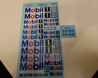 decals Mobil, Mobil1, Mobil Racing Oil 1:18 scale Tin Wizard PP09-18-1