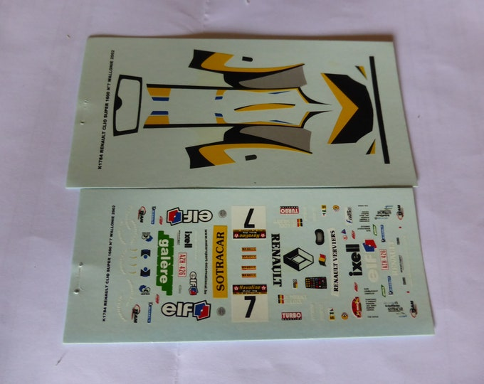 1:43 decals for Renault Clio Super 1600 Rallye Wallonie 2002 #7 Loix Provence Miniatures