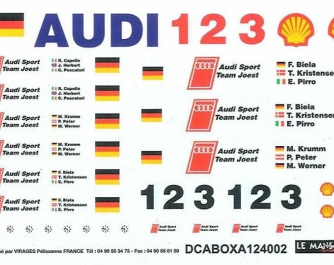 high quality 1:24 decals sheet for Audi team (boxes, trucks...) Le Mans 2002 etc. Le Mans Miniatures DCABOXA124002