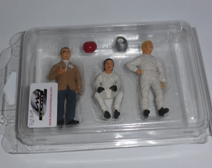 resin figurines set with John Wyer, Pedro Rodriguez and Jo Siffert 1:24 scale (built and painted edition) Le Mans Miniatures COFTP702401M