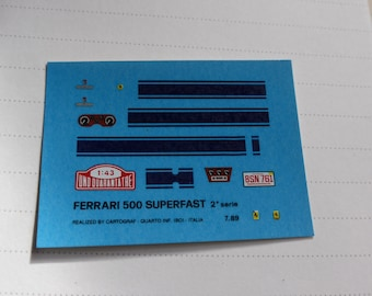 high quality 1:43 decals for Ferrari 500 Superfast white with blue stripe Cartograf printing