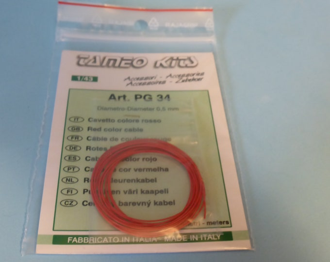 high quality red colour mm 0.5 diameter cable 2 meters (ideal for engines, brakes, etc) Tameo PG34 1:43