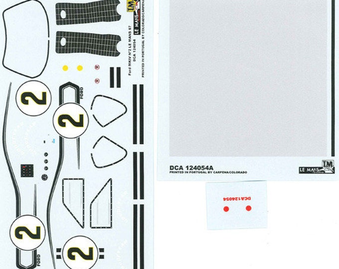 high quality 1:24 decals sheet Ford Mk.IV Le Mans 1967 #2 Le Mans Miniatures DCA124054