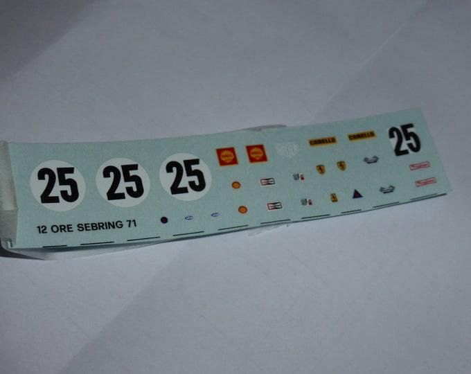 1:43 decals sheet for Ferrari 312 PB 12 hours Sebring 1971 #25 Tameo TMK147