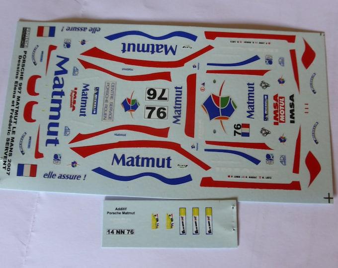 1:43 decals for Porsche 911 (997) GT3-RSR Matmut Le Mans 2007 #76 Provence Miniatures