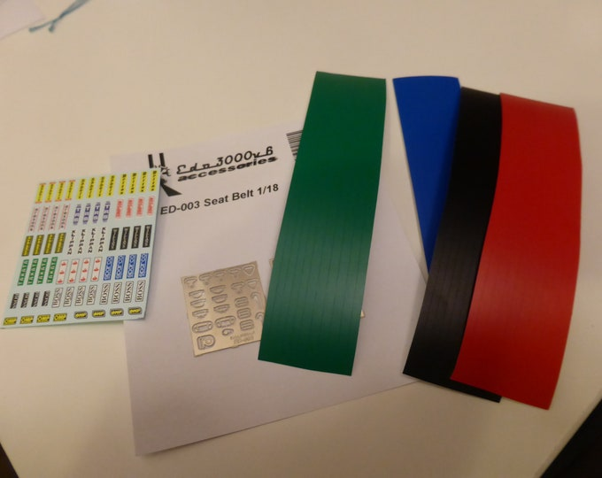 high quality 1:18 scale seatbelts (photoetched sheet, belts, decals) Edo3000v6 ED-003