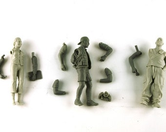 contemporary media crew journalists and photographers 1:24 scale (to assemble and paint) Le Mans Miniatures COFLM124001