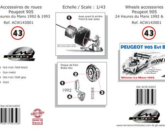 high definition 6-spokes wheels set for Peugeot 905 Gr.C and other sportscars Le Mans Miniatures 1:43 ACW143001