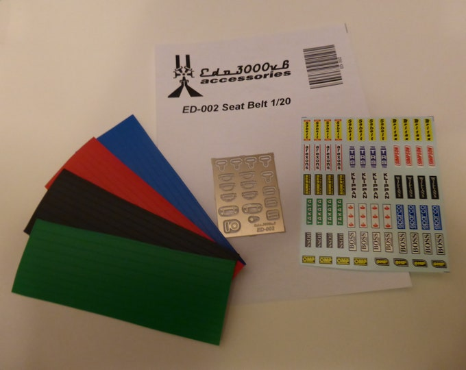 high quality 1:20 scale seatbelts (photoetched sheet, belts, decals) Edo3000v6 ED-002