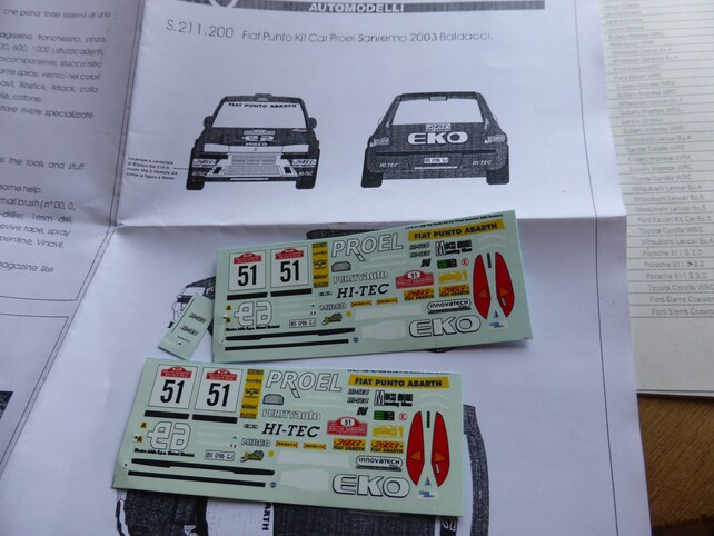 High Quality 143 Decals Sheet For Fiat Punto Kit Car Proel Etsy