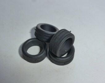 Set of 4 tires, threaded - Model car accessories - Scale model tires - 1:43 mm 5.7x12.9x9.2 #4329PR