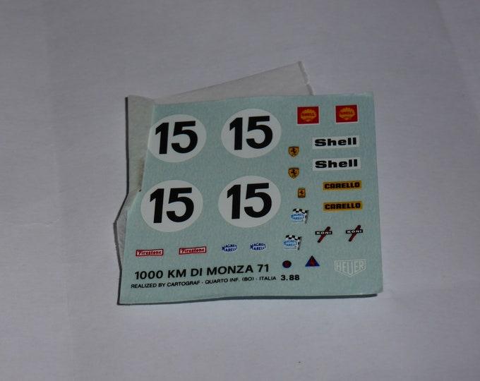 1:43 decals sheet for Ferrari 312 PB 1000km Monza 1971 #15 Tameo TMK146