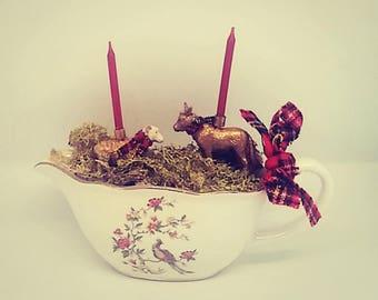 Red tartan candles