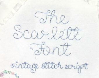 The Scarlett font, vintage stitch, quick stitch, script, machine embroidery design file in .5 inch, 1 inch, 1.5 inch, and  2 inch