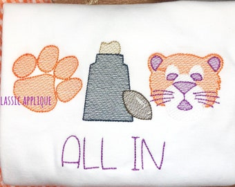 Paw print, rock on stand, Tiger mascot football sketch fill trio machine embroidery design