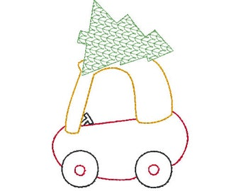 cozy coupe toy car with Christmas tree on top embroidery design file