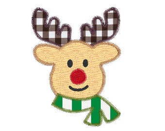 rudolph Christmas reindeer zigzag applique embroidery design