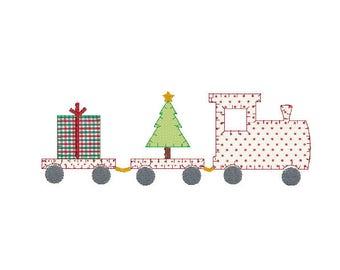 Christmas train with Christmas tree and present blanket stitch applique embroidery design file