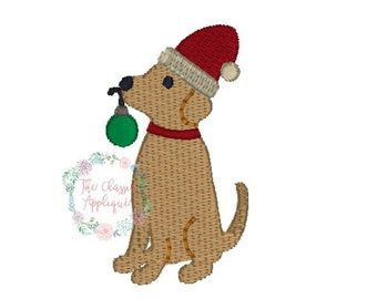 Christmas lab dog with Santa Claus hat and ornament mini fill stitch machine embroidery design file