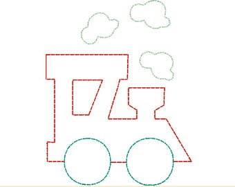 choo choo train with steam puffs vintage quick stitch design file for embroidery