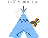 Thanksgiving Indian boy behind teepee watercolor PNG printable digital watercolor clip art graphic for sublimation, heat transfer, and more