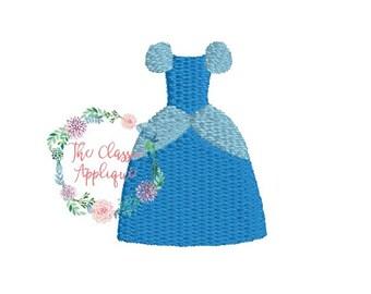 single princess dress mini fill stitch machine embroidery design file