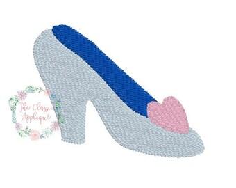 mini fill stitch glass shoe machine embroidery design in 1 inch. 1.5 inch, and 2 inch