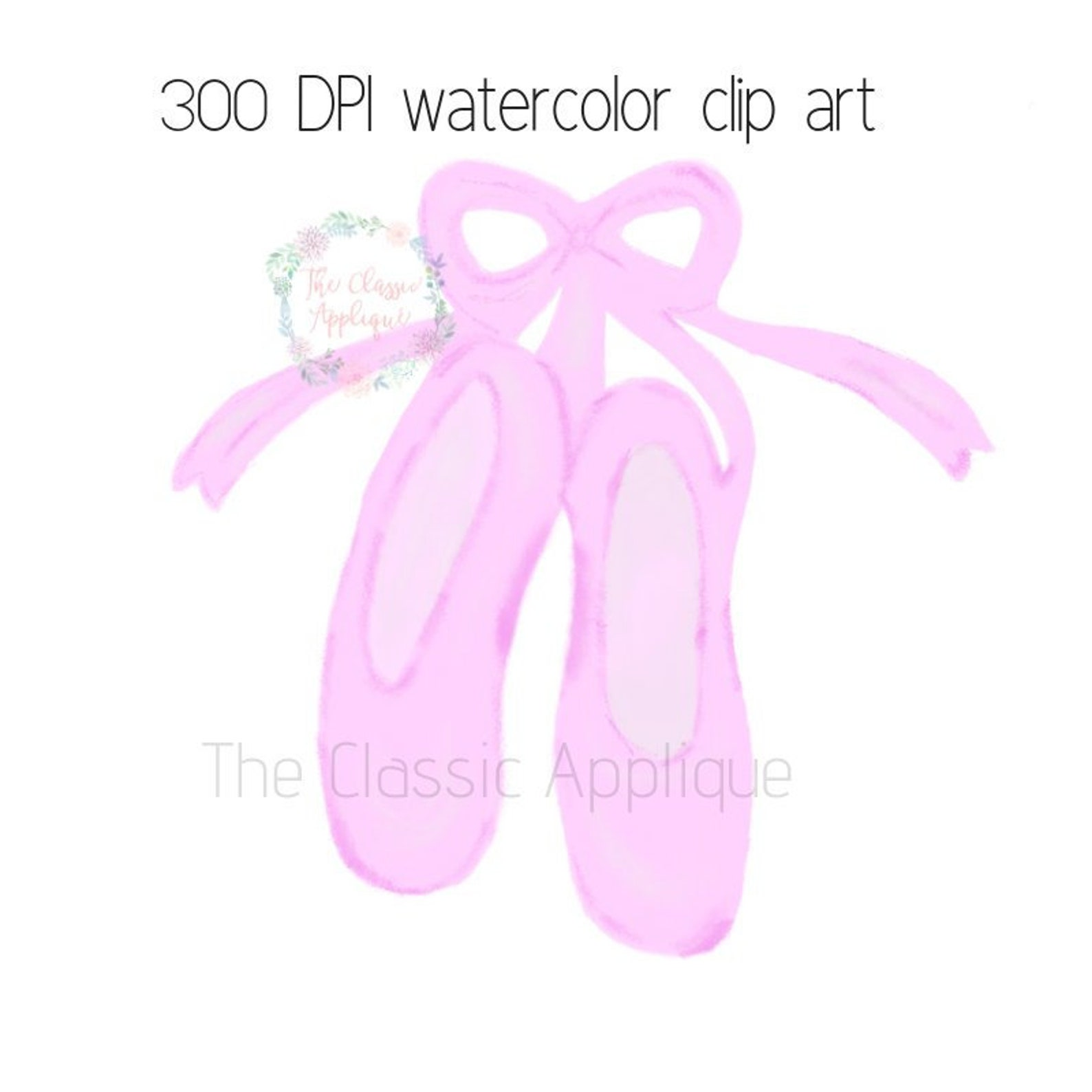 ballerina ballet shoes slippers watercolor png printable digital clip art file for sublimation, htv, paper goods, and more