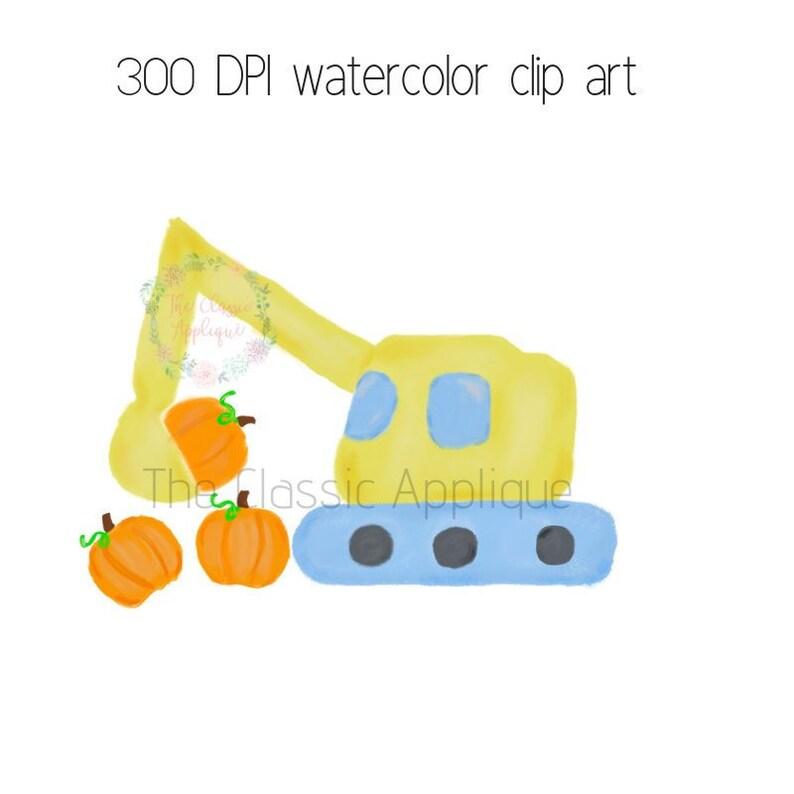 Fall autumn boy excavator construction vehicle scooping pumpkins watercolor  PNG printable digital clip art, children's, sublimation, HTV