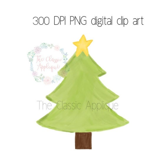 Christmas Tree Printable.Christmas Tree With Star Watercolor Png Printable Digital Clip Art File For Sublimation Heat Transfer Stationery And More